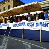 Foto Nicoloro G.  02/08/2014  Bologna    34esimo anniversario della strage alla stazione di Bologna. nella foto striscioni sotto il palco.