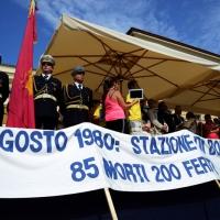 Foto Nicoloro G.  02/08/2014  Bologna    34esimo anniversario della strage alla stazione di Bologna. nella foto uno striscione sotto il palco.