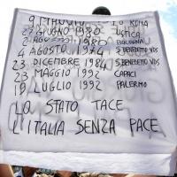 Foto Nicoloro G.  02/08/2014  Bologna    34esimo anniversario della strage alla stazione di Bologna. nella foto un cartello.