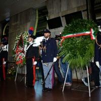 Foto Nicoloro G.  02/08/2014  Bologna    34esimo anniversario della strage alla stazione di Bologna. nella foto il picchetto d' onore vicino alle corone.