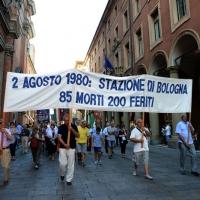 Foto Nicoloro G.  02/08/2015   Bologna   Trentacinquesimo anniversario della strage alla stazione di Bologna. nella foto striscioni lungo il corteo.