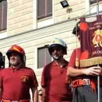 Foto Nicoloro G.  02/08/2015   Bologna   Trentacinquesimo anniversario della strage alla stazione di Bologna. nella foto lo stendardo dei Vigili del Fuoco che tanto si adoperarono il giorno della strage.
