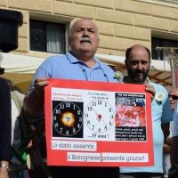 Foto Nicoloro G.  02/08/2015   Bologna   Trentacinquesimo anniversario della strage alla stazione di Bologna. nella foto un cartello sulla strage.