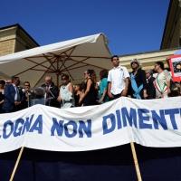 Foto Nicoloro G.  02/08/2015   Bologna   Trentacinquesimo anniversario della strage alla stazione di Bologna. nella foto il palco con le autorità.