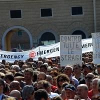 Foto Nicoloro G.  02/08/2015   Bologna   Trentacinquesimo anniversario della strage alla stazione di Bologna. nella foto alcuni cartelli tra la folla.
