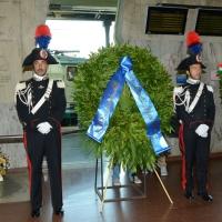 Foto Nicoloro G.  02/08/2015   Bologna   Trentacinquesimo anniversario della strage alla stazione di Bologna. nella foto la corona della presidenza del Senato.